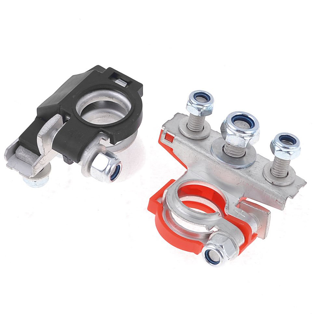 New hotsale promotion 1set car black red metal 90 degree angle type battery terminals clamps original